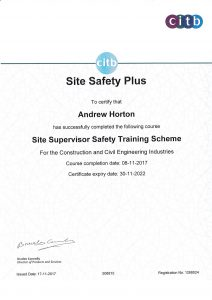 training certificate site safety achievements