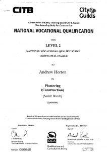 certificate qualification training team plastering