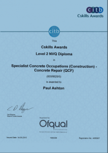paul ashton a&a concrete certificate level 2 nvq diploma
