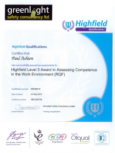 training qualification paul ashton certificate awards achievements